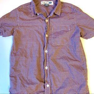 Old Navy Red & White Striped Boys Kid Collar Shirt